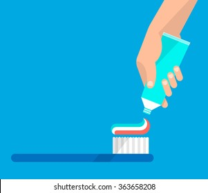 Hand extrude a toothpaste from a tube on a toothbrush. Hygiene and teeth care concept. Isolated vector illustration flat design.