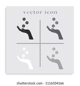 Hand with falling coins flat black and white vector icon.