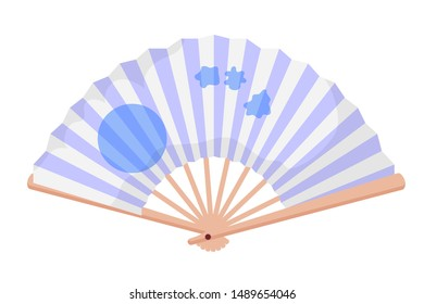 Hand fan flat vector illustration. Elegant female accessory for cooling air. Vintage women fashion element with white furry tassels. Retro ladies accessory, aristocracy, upper class society symbol