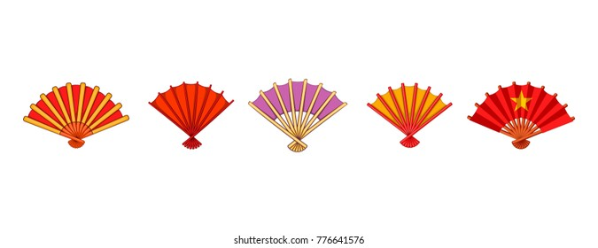 Hand fan icon set. Cartoon set of hand fan vector icons for web design isolated on white background