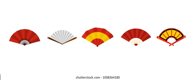 Hand fan icon set. Flat set of hand fan vector icons for web design isolated on white background