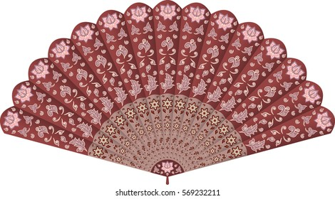 Hand fan in oriental Chinese style ornate with traditional floral decorative ornament. Vector illustration, isolated on white background