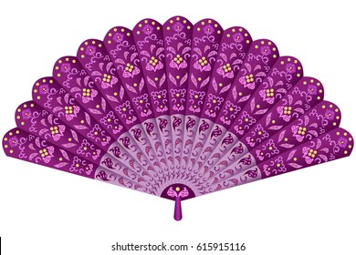 Hand fan in oriental style ornate with traditional floral decorative ornament. Vector illustration, isolated on white background