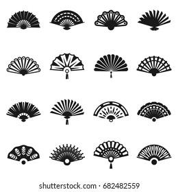 Hand fan set. Cooling and refreshing lady accessory, folding. Fashion element for wedding, party or event.Vector flat style illustration isolated on white background