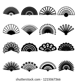 Hand Fan Signs Black Thin Line Icon Set Traditional Souvenir or Elegant Accessory. Vector illustration of Icons