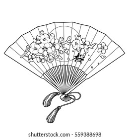 Hand fan with traditional japanese sakura design. Translation of the hieroglyph - sakura. Vector illustration isolated on white background. Coloring book page design for adults and kids