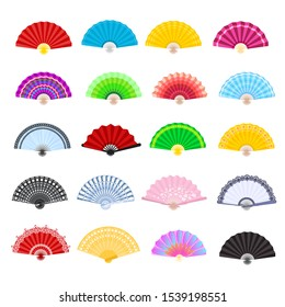 Hand fan vector traditional Japanese accessory and Chinese decoration folding handheld-fan illustration set of open Asian culture design object isolated on white background.