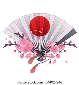 Hand fan in white and red colors with traditional japanese design and sakura decorations. Vector illustration isolated on white background