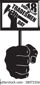 Hand with fastening Tradesmen Day, vector illustration