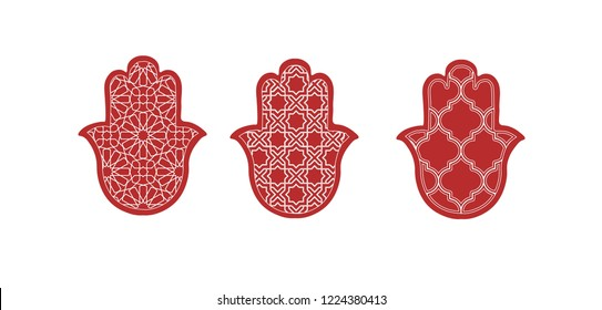hand of fatima vector illustration, moroccan iconic khamssa hand drawn, traditional pattern elements.