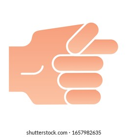 Hand fig sign flat icon. Hand gesture vector illustration isolated on white. Protest symbol gradient style design