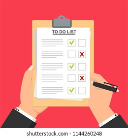 Hand filling checklist on To Do List. Form illustration with man signing a paper work document. Vector Modern flat design concept for web banners, web sites, printed materials, infographics.