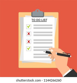 hand filling checklist on do list stock vector royalty free