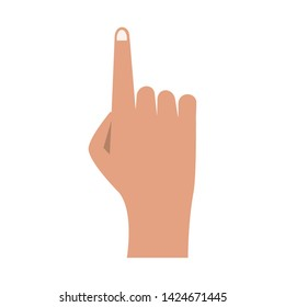 Hand with finger up cartoon isolated vector illustration graphic design