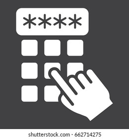 Hand finger entering pin code solid icon, unlock and password, vector graphics, a glyph pattern on a black background, eps 10.