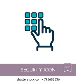 Hand finger entering pin code solid icon, unlock and password. Security sign. Graph symbol for your web site design, logo, app, UI. Vector illustration, EPS10.