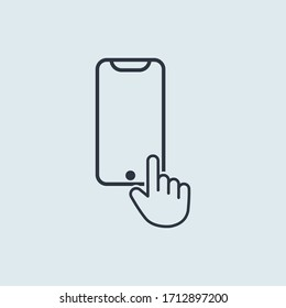 Hand finger mobile phone in flat outline simple design style for mobile app or web
