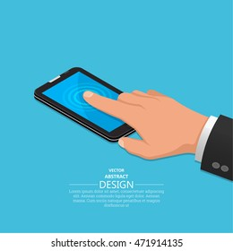 Hand finger on the touch screen of phone. A vectorial illustration in isometric, 3D style.