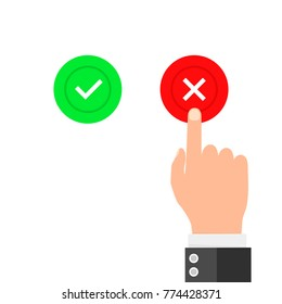 Hand finger pressing buttons no or yes. Vector illustration. Concept of the right choice and a wrong decision.