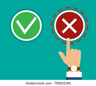 Hand, finger pressing buttons true or falls. Hand pointing to wrong choice. The concept of choice, the right choice and a wrong choice. True or falls decision. Vector illustration.