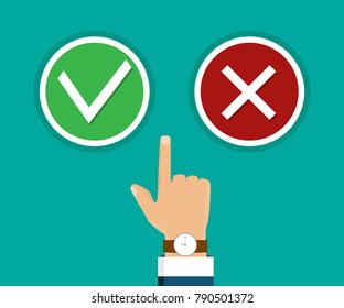 Hand, finger pressing buttons true or falls. Vector illustration. The concept of choice, the right choice and a wrong choice. True or falls decision. Vector illustration.