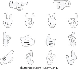 Hand and finger signs on a white background. Vector