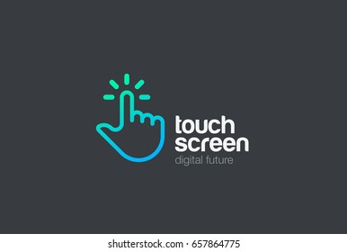 Hand Finger Touch screen technology Logo design vector template Linear style. Mobile Touchscreen palm digital tech Logotype concept icon.