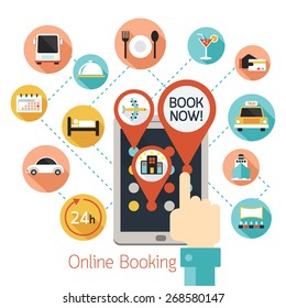 Hand Finger Touch Tablet Online Booking Icons, Hotel,  Transportation, Services