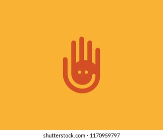 Hand fingers vector logo. Negative space smile logotype.