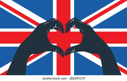 hand fist against grunge England flag