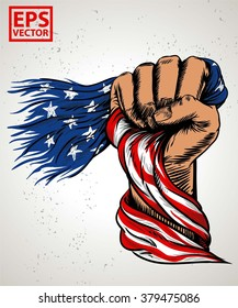 HAND FIST AMERICAN FLAG OR ILLUSTRATION PRINT AND BACKGROUND VECTOR