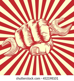 A hand in a fist holding a spanner in vintage propaganda poster woodcut style