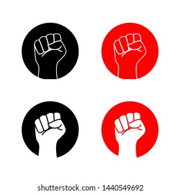 hand fist raised up logo for fight club - vector