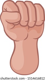 A hand in a fist raised up or punching cartoon icon