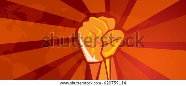 Handfaust-Revolutionssymbol des Widerstands bekämpft aggressiven Retro-Kommunismus-Propaganda-Plakatstil in Rot auf Weltkarte-Hintergrund