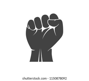hand fist rising in the air vector logo design template