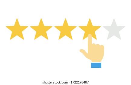 Calificación de cliente de mano y cinco estrellas. Éxito empresarial cinco estrellas calificar la opinión de la clasificación de votos.