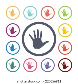 hand flat icons set. Open round colorful buttons. Vector
