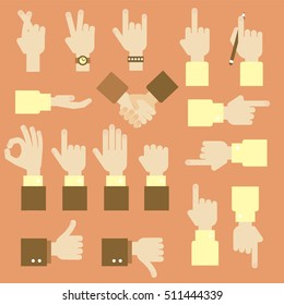 Hand flat vector design set with okay gesture, directions, like and dislike