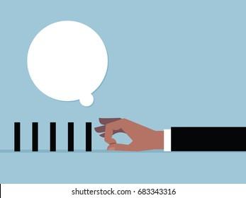 Hand to flick black box and speech bubble. vector cartoon