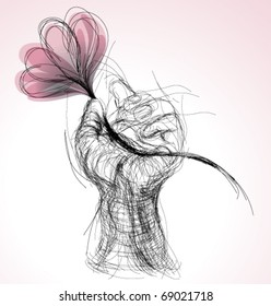 Hand with flower / realistic sketch (not auto-traced)