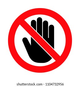 Hand forbidden sign, no entry, do not touch, dont push, off limits, vector icon