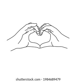 Hand forming a heart shape. Vector contour illustration hands of woman.
