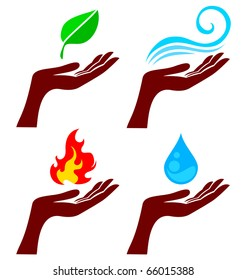 Hand with four nature element: tree leaf, fire, water and wind