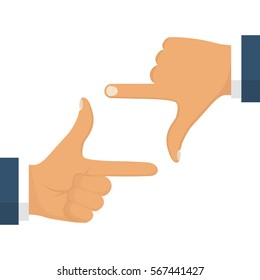 Hand frame isolated on white background. Vector illustration flat design. Two hands making gesture border frame. Space for the image, object, text. Showing photo