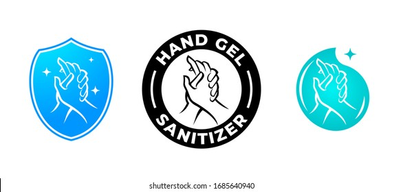 Hand gel sanitizer vector label with water drop, shield and hand logo.  Hand sanitizer icon for healthy safe product package tag