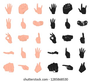 Hand gesture cartoon,black icons in set collection for design. Palm and finger vector symbol stock web illustration.