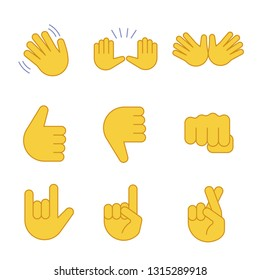 Hand gesture emojis color icons set. Waving, stop, jazz, thumbs up and down, fist, love you, luck, lie gesturing. Open hands, crossed fingers. Isolated vector illustrations