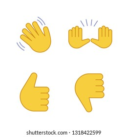 Hand gesture emojis color icons set. Hello, goodbye, stop, good job, disapproval gesturing. Waving and raising hands, thumbs up and down. Isolated vector illustrations