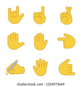 Hand gesture emojis color icons set. Love you, rock on, backhand index pointing left and up, luck, lie, high five, counting five, shaka gesturing, writing hand. Isolated vector illustrations